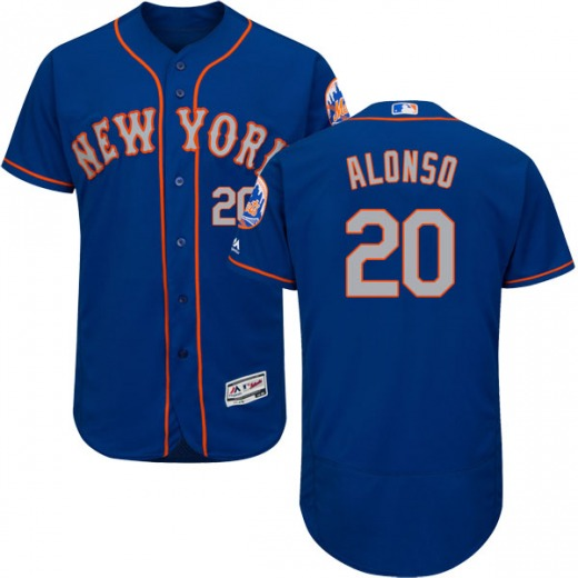 Men's Majestic New York Mets Pete Alonso Gray Flex Base Royal/ Alternate Collection Jersey - Authentic